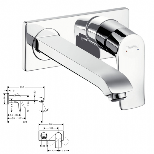 Hansgrohe Metris Basin Mixer For Concealed Installation - Model 1086000
